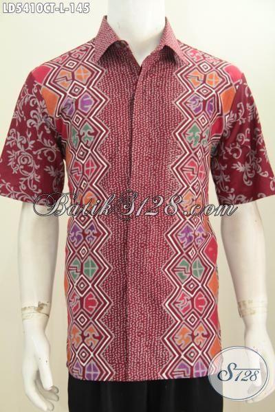 Hem Batik Trendy Warna Merah Dengan Kombinasi Motif Berkelas Nan Mewah, Pakaian Batik Cap Tulis Lengan Pendek Cocok Buat Seragam Kerja Tampil Lebih Beda Dan Gaya, Size L