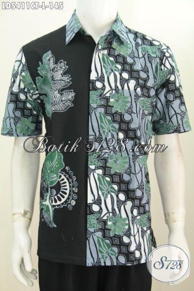 Produk Baju Hem Batik Parang Keren Kombinasi Kain Polos, Jual Baju Batik Cap Tulis Lengan Pendek Size L Untuk Pria Muda Dan Dewasa Tampil Lebih Bergaya [LD5411CT-L]