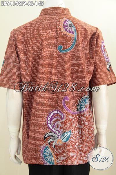 Baju Kemeja Batik Keren Orange Kwalitas Halus Harga Terjangkau, Pakaian Batik Cowok Model Lengan Pendek Proses Cap Tulis Modis Buat Hangout Elegan Untuk Kerja, Size XL