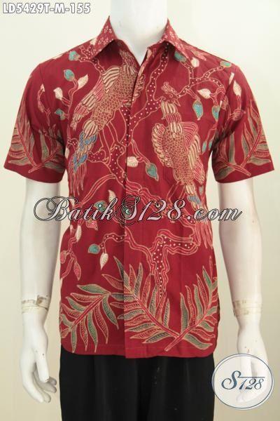Baju Kemeja Batik Lengan Pendek Proses Tulis Harga Paling Murah, Baju Batik Keren Warna Merah Motif Bagus Cocok Buat Hangout, Size M