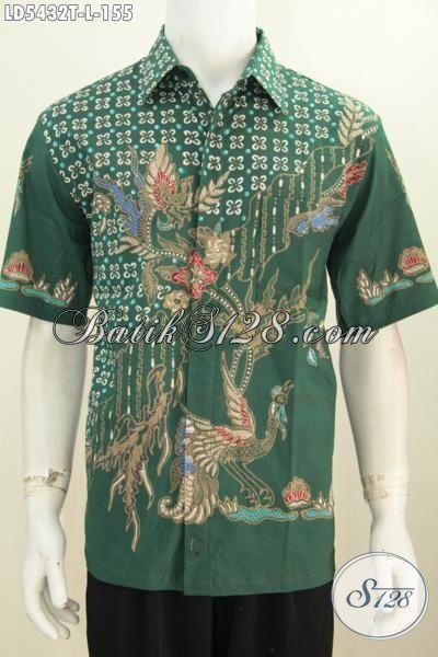 Hem Batik Cowok Warna Hijau Motif Keren, Pakaian Batik Trendy Proses Tulis Tampil Lebih Gaya Dan Keren, Size L