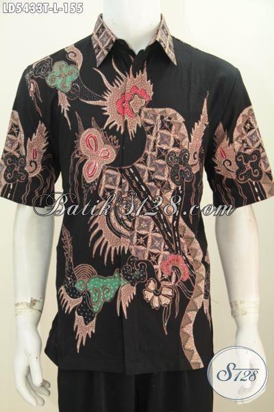 Jual Pakaian Batik Cowok Lengan Pendek Keren, Busana Batik Tulis Halus Harga 100 Ribuan Motif Bagus Bisa Untuk Kerja Kantoran, Size L