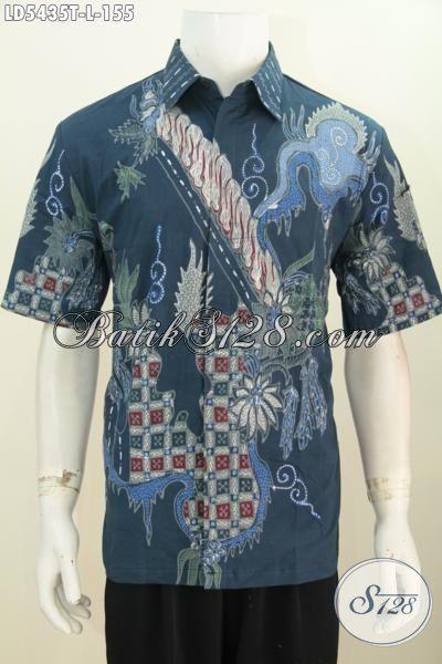 Hem Batik Fashion Lengan Pendek Keren Halus Size L, Baju Batik Modern Warna Biru Proses Tulis Motif Trendy Cocok Buat Seragam Kerja