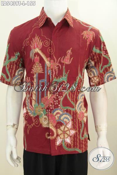 Baju Hem Modis Warna Merah Motif Modern Pakaian Batik