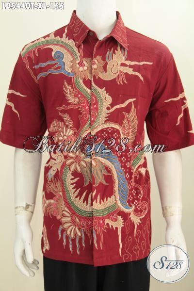 Baju Batik Modern Lengan Pendek Keren Halus Warna Merah, Pakaian Batik Solo Motif Terbaru Proses Tulis Di Jual Online Harga Grosir, Size XL
