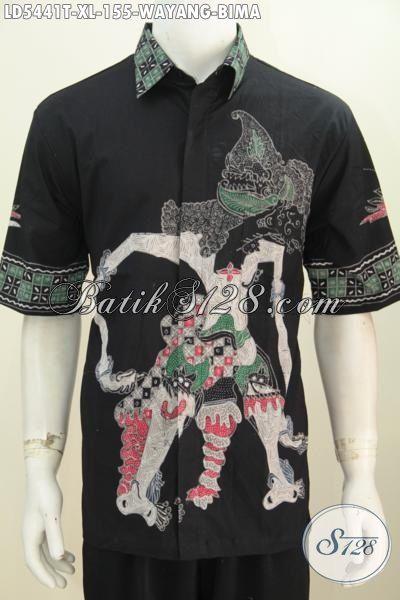 Busana Kemeja Batik Wayang Bima Dasar Hitam Kwalitas Bagus Harga Terjangkau, Jual Online Baju Batik Tulis Harga Grosir Untuk Kerja Dan Hangout [LD5441T-XL]
