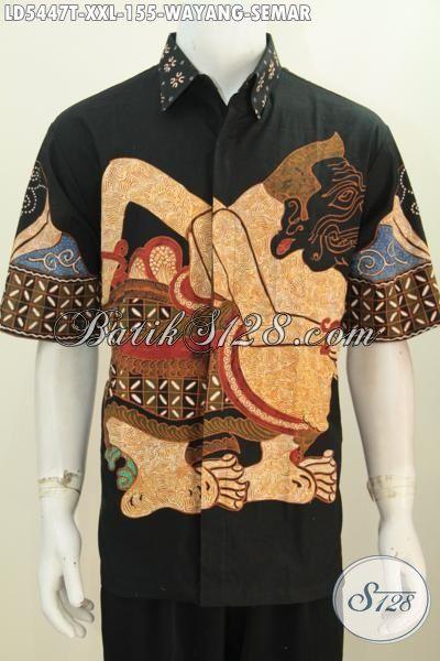 Baju Hem Batik Motif Wayang Semar, Pakaian Batik Tulis Halus Lengan Pendek Dasar Hitam Hadir Dengan Ukuran 3L Spesial Untuk Cowok Berbadan Gemuk [LD5447T-XXL]