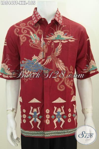 Jual Baju Hem Lengan Pendek Batik Warna Merah Size 3L, Pakaian Batik Tulis Solo Kwalitas Istimewa Untuk Pria Gemuk Tampil Gagah Dan Tampan Maksimal [LD5449T-XXL]