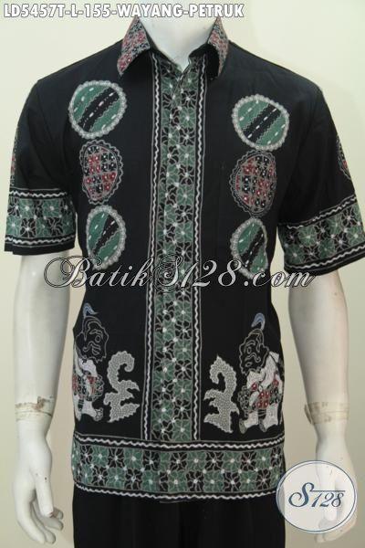 Jual Baju Batik Wayang Motif Petruk Proses Tulis, Busana Batik Elegan Berkelas Warna Hitam Untuk Santai, Size L