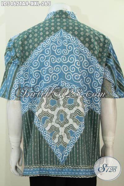 Kemeja Batik Lengan Pendek Elegan Motif Klasik Proses Tulis Alam, Baju Batik Berkelas Untuk Pria Karir Gemuk Tampil Gagah, Size XXL
