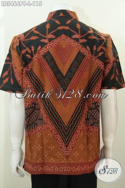 Baju Batik Pria Model Lengan Pendek Motif Klasik, Busana Batik Printing Istimewa Desain Formal Cocok Buat Kerja Dan Rapat, L – XL