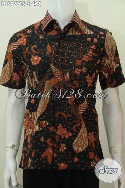 Kemeja Batik Kwalitas Premium Proses Tulis Soga, Baju Batik Lengan Pendek Size S Motif Mewah Pas Banget Untuk Pria Muda Yang Ingin Terlihat Gaya Berkelas