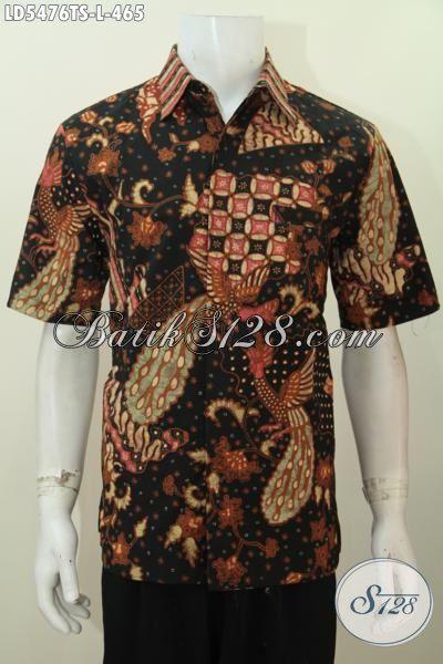 Hem Batik Tulis Soga Mewah Halus Bahan Adem, Pakaian Batik Modis Model Lengan Pendek Size L Bisa Untuk Kerja Dan Rapat