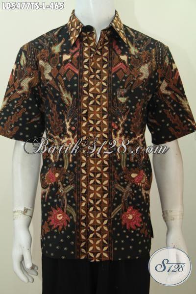 Busana Batik Lengan Pendek Halus Buatan Solo Asli, Pakaian Kemeja Batik Proses Tulis soga Motif Mewah Cocok Untuk Kondangan Dan Acara Spesial, Size L