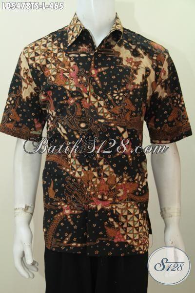 Baju Batik Lelaki Dewasa Ukuran L, Pakaian Batik Premium Lengan Pendek Motif Mewah Proses Tulis Soga Tampil Mempesona