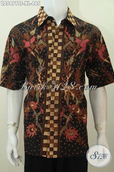 Pusat Online Aneka Produk Pakaian Batik Terlengkap, Sedia Kemeja Batik Cowok Size XL Bahan Halus Adem Motif Mewah Proses Tulis Soga Harga 400 Ribuan