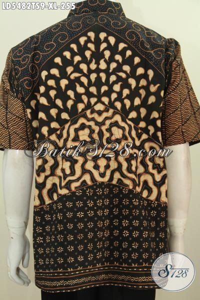 Baju Kemeja Batik Klasik Lengan Pendek Buatan Solo, Busana Batik Masa Kini Proses Tulis Soga Untuk Lelaki Dewasa Tampil Gagah Berwibawa [LD5482TS-XL]