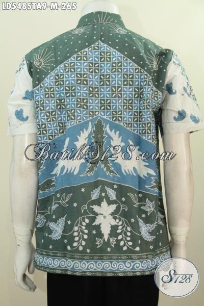 Hem Batik Terkini Produk Dari Solo Dengan Motif Bagus Model Lengan Pendek, Baju Batik Kwalitas Istimewa Proses Tulis Dengan Warna Alam Lebih Halus Dan Nyaman Di Pakai [LD5485TA-M]