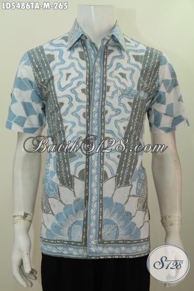 Baju Kemeja Batik Lengan Pendek Seragam Kerja Motif Klasik, Pakaian Batik Istimewa Buatan Solo Proses Tulis Warna Alam Untuk Penampilan Lebih Keren Dan Gagah [LD5486TA-M]