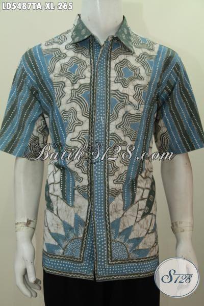 Jual Online Produk Baju Batik Pria Terbaru Bahan Halus Model Lengan Pendek, Busana Batik Berkelas Proses Tulis Warna Alam Size XL Bikin Lelaki Dewasa Terlihat Gagah Dan Tampan
