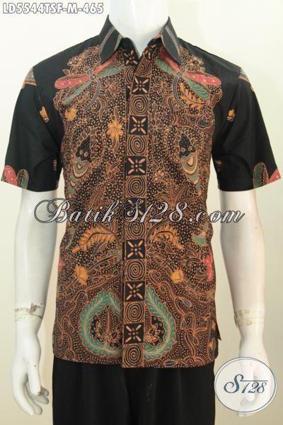 Jual Online Pakaian Batik Lengan Pendek Premium Kwalitas Halus Motif Mewah, Baju Kerja Batik Istimewa Full Furing Proses Tulis Soga Tampil Lebih Midis Dan Mempesona, Size M