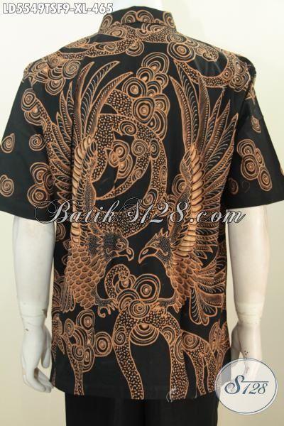 Hem Batik Tulis Soga Model Lengan Pendek Premium, Busana Batik Halus Daleman Full Furing Trend Mode Masa Kini Untuk Penampilan Cowok Terlihat Istimewa, Size XL