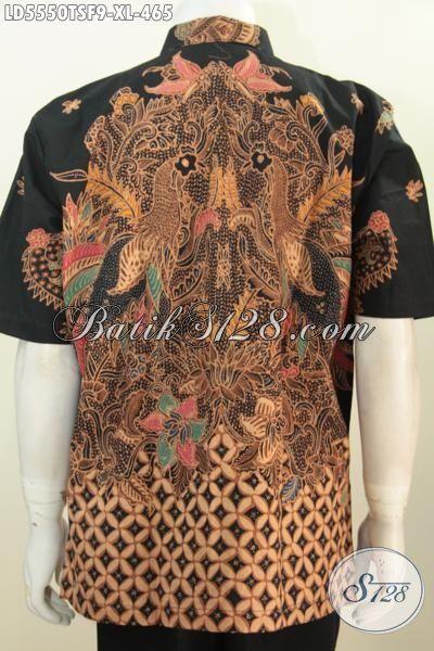 Hem Batik Premium Lengan Pendek Trend Motif Terkini, Baju Batik Pake Furing Seragam Kerja Kwalitas Bagus Dan Istimewa Proses Tulis Soga, Size XL