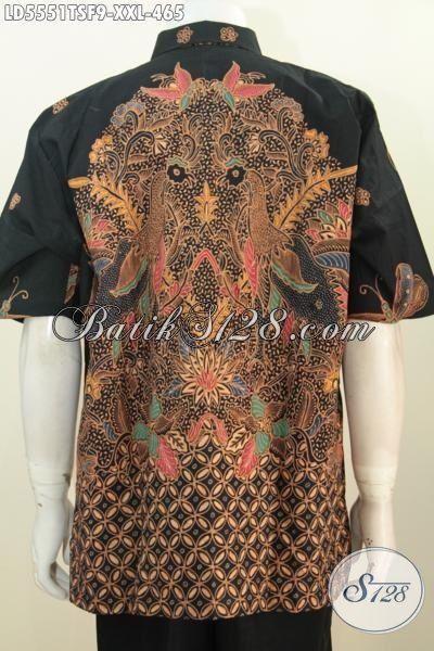 Baju Hem Premium Lengan Pendek Ukuran 3L, Pakaian Batik Batik Mewah Full Furing Proses Tulis Soga Untuk Lelaki Gemuk Tampil Lebih Modis Dan Berkelas, Size XXL