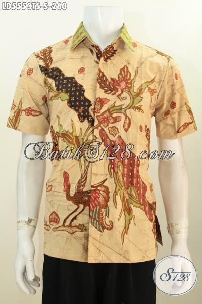 Hem Batik Tulis Soga Lengan Pendek Warna Coklat Muda, Baju Batik Halus Motif Trendy Ukuran Kecil Untuk Lelaki Muda, Size S
