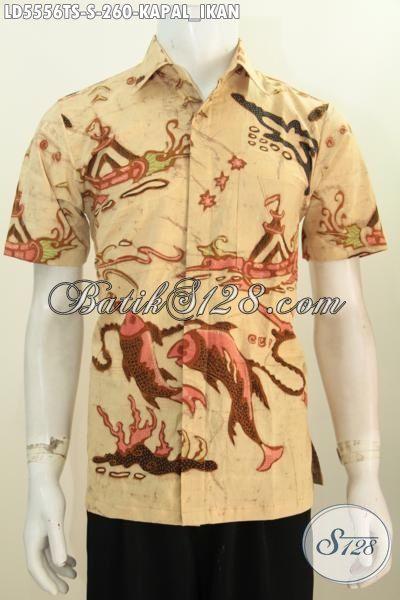 Baju Batik Halus Buat Cowok, Kemeja Batik Elegan Model Lengan Pendek Proses Tulis Soga Kwalitas Premium Size S Untuk Lelaki Muda