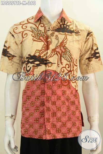 Pakaian Batik Lelaki Muda Size M, Baju Batik Lengan Pendek Modis Motif Keren Warna Klasik Nan Elegan Proses Tulis Soga