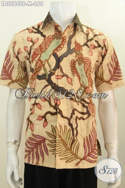 Hem Batik Halus Proses Tulis Soga Model Lengan Pendek, Baju Batik Istimewa Motif Trendy Kwalitas Bagus Buat Tampil Makin Modis Dan Berkelas, Size M