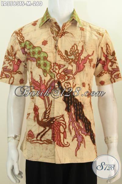 Agen Aneka Produk Batik Jawa Tengah Online, Sedia Kemeja Batik Tulis Soga Halus Motif Bagus Model Lengan Pendek Cocok Untuk Acara Formal [LD5563TS-M]