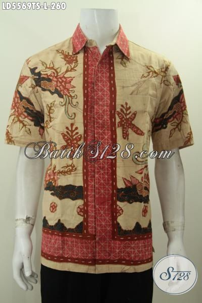 Hem Lengan Pendek Batik Tulis Soga Kwalitas Premium, Busana Batik Jawa Tengah Halus Yang Bikin Penampilan Lebih Percaya Diri [LD5569TS-L]