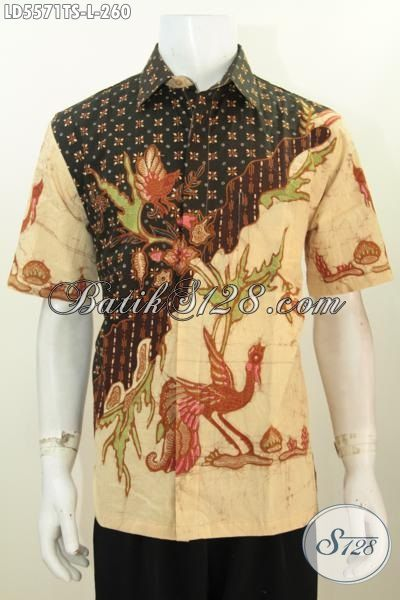 Batik Hem Modis Halus Lengan Pendek, Pakaian Batik Motif Trendy Proses Tulis Soga Cocok Buat Seragam Kerja Kantoran [LD5571TS-L]