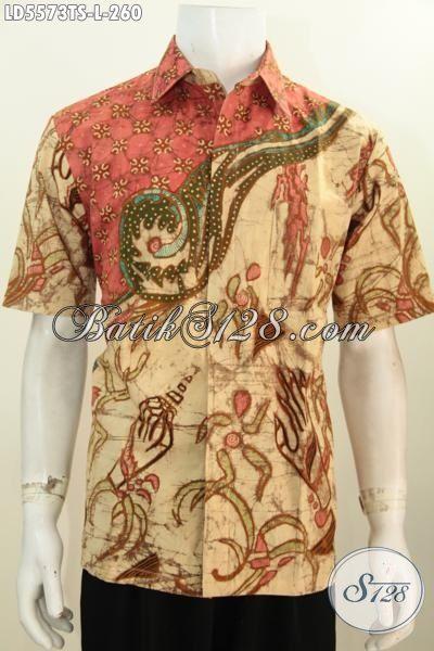 Baju Hem Modern Motif Trendy Warna Elegan, Pakaian Batik Proses Tulis Soga Buat Pria Size L Modis Untuk Hangout Dan Seragam Kerja