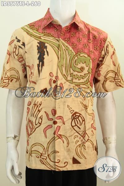 Hem Batik Trendy Warna Klasik, Busana Batik Elegan Kwalitas Istimewa Asli Dari Solo Proses Tulis Soga Tampil Lebih Berwibawa, Size L