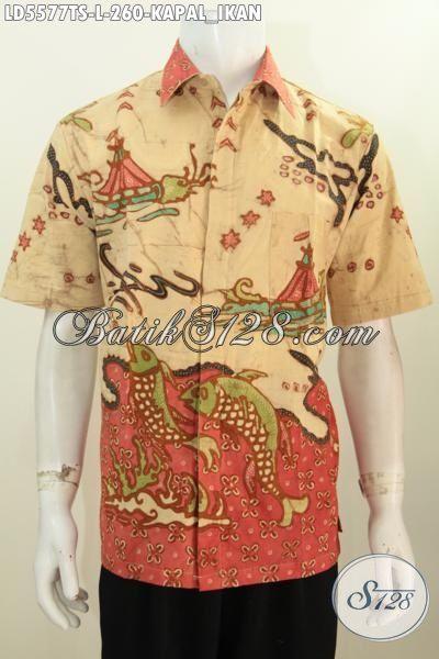 Hem Batik Lengan Pendek Size L, Baju Batik Istimewa Kwalitas Premium Proses Tulis Soga Motif Kapan Dan Ikan Untuk Pria Tampil Lebih Gagah