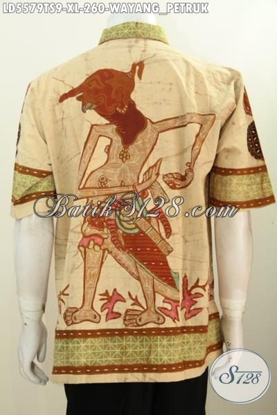 Baju Batik Wayang Model Lengan Pendek, Produk Busana Batik Cowok Size XL Motif Petruk Proses Tulis Soga Kwalitas Premium