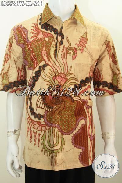 Hem Batik Trendy Pria Dewasa, Jual Online Pakaian Batik Lengan Pendek Motif Keren Proses Tulis Soga Kwalitas Mewah, Size XL