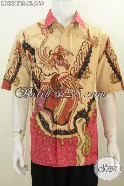 Batik Hem Keren Lelaki Dewasa Ukutan XL, Baju Batik Premium Cowok Model Lengan Pendek Berbahan Halus Proses Tulis Soga Nan Mewah Cocok Untuk Ke Kantor