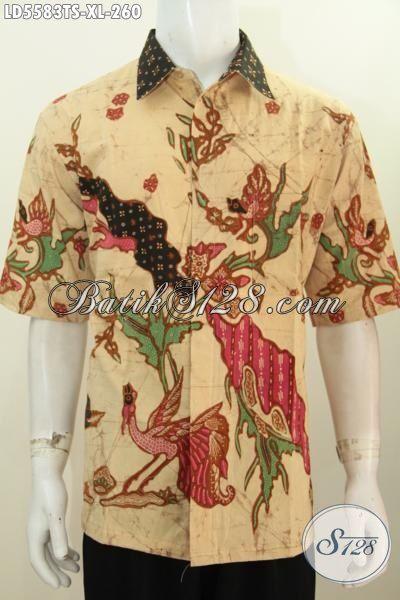 Baju Kemeja Batik Elegan Motif Trendy Khas Anak Muda, Busana Batik Tulis Pewarna Soga Kwalitas Mewah Di Jual Online Harga Grosir, Size XL