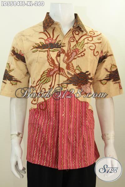 Hem Baju Batik Lengan Pendek Motif Mewah, Pakaian Batik Halus Proses Tulis Warna Soga Lebih Halus Dan Nyaman Di Pakai [LD5584TS-XL]