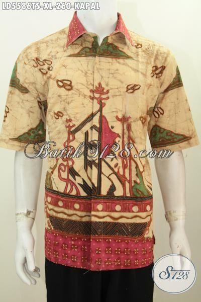 Batik Hem Kwalitas Premium Untuk Pria Tampil Lebih Mempesona, Kemeja Batik Lengan Pendek Istimewa Proses Tulis Soga Kwalitas Halus Harga Terjangkau, Size XL