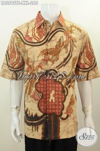 Kemeja Batik Cowok Gemuk 3L, Baju Batik Istimewa Model Lengan Pendek Berbahan Halus Proses Tulis Soga Untuk Penampilan Keren Dan Gagah, Size XXL