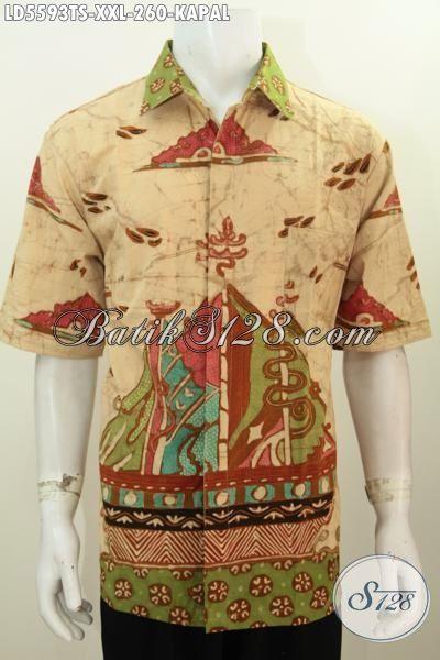 Hem Batik Jumbo Motif Kapal, Kemeja Lengan Pendek Premium Kwalitas Bagus Proses Tulis Soga Istimewa, Pakaian Batik Khusus Pria Gemuk Tampil Lebih Modis Dan Keren