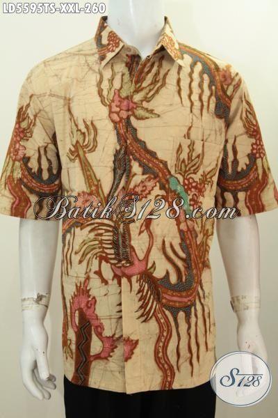 Jual Baju Batik Jumbo Spesial Buat Lelaki Berbadan Gemuk, Busana Batik Trendy Motif Bagus Porses Tulis Tangan Pewarna Soga Model Lengan Pendek Harga 260K [LD5595TS-XXL]