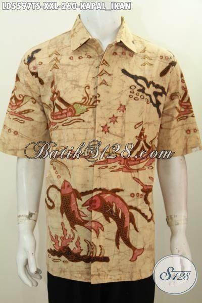 Pakaian Batik Lelaki Dewasa Ukuran 3L, Baju Hem Batik Lengan Pendek Istimewa Proses Tulis Soga Pas Untuk Cowok Gemuk [LD5597TS-XXL]