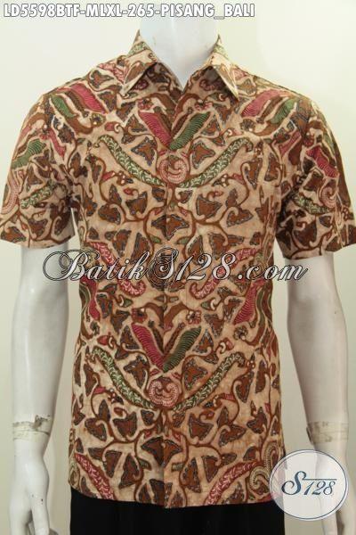 Hem Batik Klasik Motif Pisang Bali Kombinasi Tulis, Baju Batik Elegan Lengan Pendek Cocok Untuk Acara Formal, Size M – L – XL