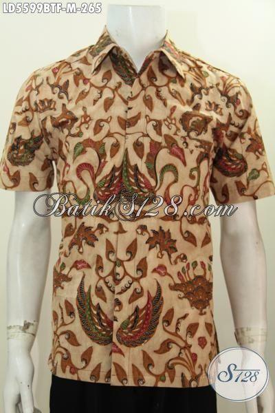 Batik Kemeja Lengan Pendek Motif Elegan Berbahan Halus Proses Kombinasi Tulis, Baju Hem Batik Full Furing Khas Jawa Tengah Bikin Pria Terlihat Berkarakter, Size M